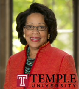 Joanne Epps with Temple logo